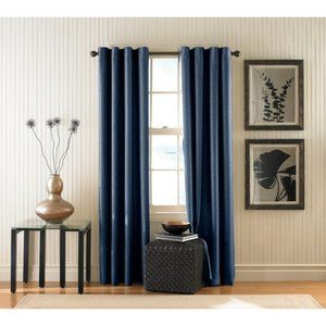 Set of 2 Blue Grommet Curtain Panels 52 x 84